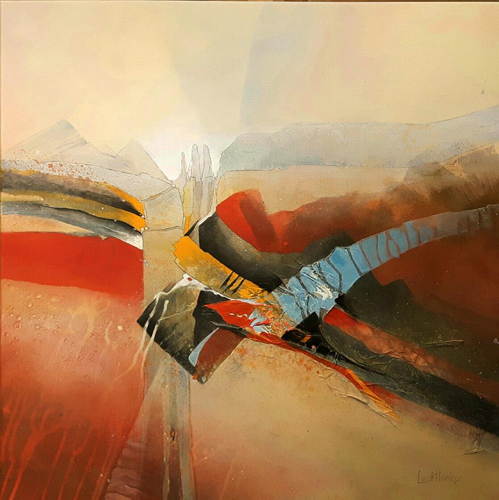 Acryl, acrylic, abstrakt, Landschaft, Schnitt, Querschnitt, cut, Walter Lechthaler