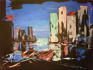 Eitempera Boote, Hafen in der Nacht - Walter Lechthaler